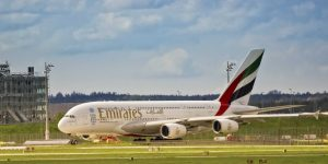 An Emirates Airbus on the ground
