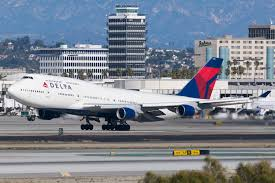A Delta Airline Boeing 747-400 on the ground.